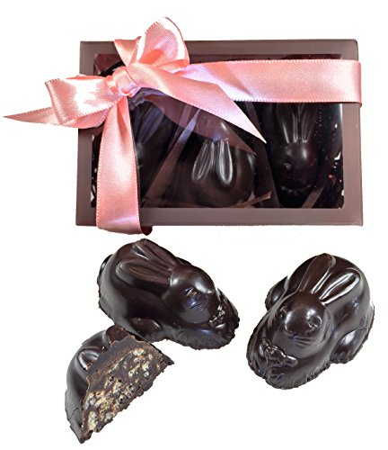 Amore di Mona Luxury Dark Chocolate and Crispy Caramela Bunny Gift Box: Vegan, Organic, All Natural, NOn-GMO. Free of Gluten, Peanuts, Tree Nuts, and All Other Common Allergens.