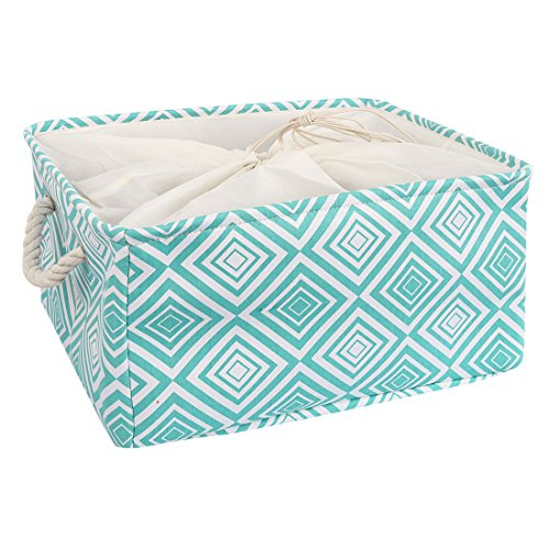 uxcell Large Storage Baskets, Foldable Storage Bins Toy Basket Laundry Clothes Towel Organizer w Drawstring Closure(Green,L)