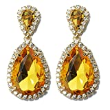 Veenajo Womens gorgeous Dangling Double Teardrop Glass Stone Pierced stud Earrings