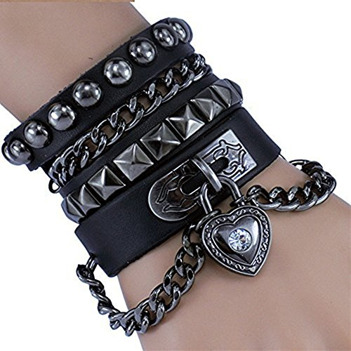Bystar Bracelet of Punk Rock Rivet Wrap Retro Heart Chain Unisex Genuine Leather Multi Circle Creative For Men / Women-Black