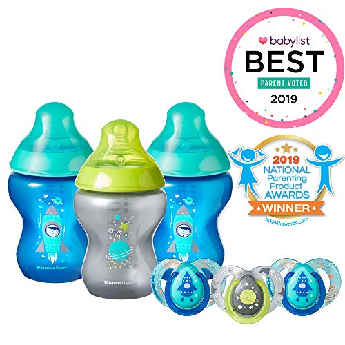 Tommee Tippee Closer to Nature Boldly Go Decorated Gift Set with 6-Piece Baby Bottles & 6-18 Month Pacifiers, Boy