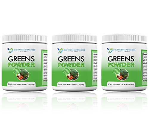 Greens Powder – Doctor Recommended Complete Natural Whole Super Food Nutritional Supplement – Greens Drink w/Organic Fruits, Vegetables, (Pack of 3)