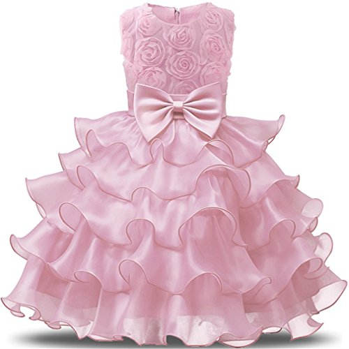 Niyage Girls Party Dress Princess Flowers Ruffles Lace Wedding Dresses Toddler Baby Pageant Tulle Tutus 3-6 M Pink