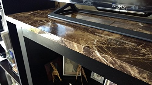 Very Berry Sticker Marble Look Interior Film (Brown, 24'' X 118'' Roll, High Glossy) Granite Effect Vinyl Self Adhesive Peel-Stick Brown Counter Top (2 X 9.84 ft) by Very Berry Sticker (Image #3)