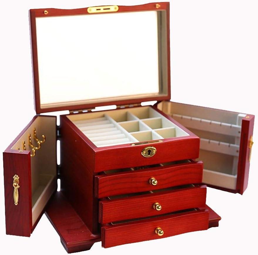 大ジュエリー収納ボックス ソリッドウッドジュエリーボックス大容量多機能ジュエリー収納ボックスのヨーロッパネックレスイヤリングストレージボックス 宝石箱 (Color : Mahogany)
