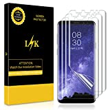 [3 Pack] LK for Samsung Galaxy S9 Plus Screen Protector, Liquid Skin [New Version] [Case-Friendly] [Bubble-Free] HD Clear Flexible Film with Lifetime Replacement Warranty