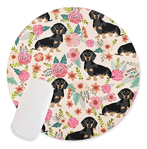 Dog in the flowers Non-Slip Rubber Round Mouse Pad Perfect for Working and (Dog Round Mouse Pad)