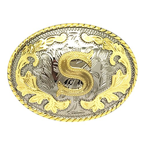 - Western Belt Buckle Initial Letters ABCDEFG to Y-Cowboy Rodeo Gold Large Belt Buckle for Men and Women (S)