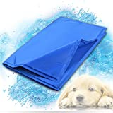 """Image of Whalek Pet Cooling Mat Pet Cooling Pad, Dog Self Cooling Mat Pad for Kennels, Crates and Beds for Large Dogs (15.7""""x11.8"""") Large Blue, with Pet Comb"""