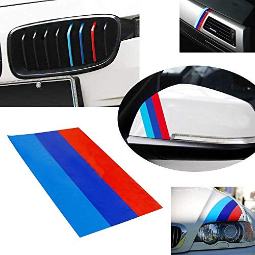 iJDMTOY 10-Inch M-Colored Stripe Decal Sticker for BMW Exterior or Interior Decoration Such As Grille Fender Hood Side Skirt Bumper Side Mirror Dashboard Steering Wheel, etc