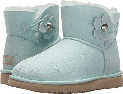 UGG Women's Mini Bailey Button Poppy Boot, aqua, 8 M ()