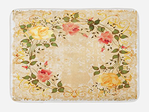 (Ambesonne Vintage Bath Mat, Oval Shape Floral Crown with Leaves and Roses Over Damask Motif Shabby Boho, Plush Bathroom Decor Mat with Non Slip Backing, 29.5 W X 17.5 L Inches, Yellow Green Pink)