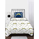 NFL San Diego Chargers Logo Football Twin Bed Sheet Set