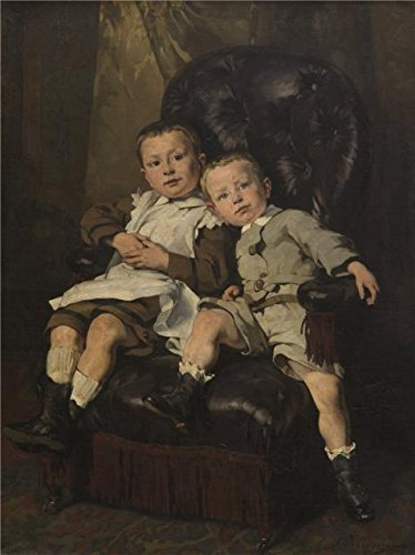 Oil Painting 'Paul And Edmond Roger, Step Children Of The Painter, 1872 By Alfred Cluysenaar' Printing On Perfect Effect Canvas , 18x24 Inch / 46x61 Cm ,the Best Powder Room Gallery Art And Home Artwork And Gifts Is This High Definition Art Decorative Canvas Prints Tulip Frame Wall Mirror
