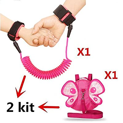 Anti Lost Wrist Link + Toddler Harness Leashes 2 Pack Child Toddler Walking Safety Harnesses Kids Wristband Assistant Strap Belt (Butterfly Pink)