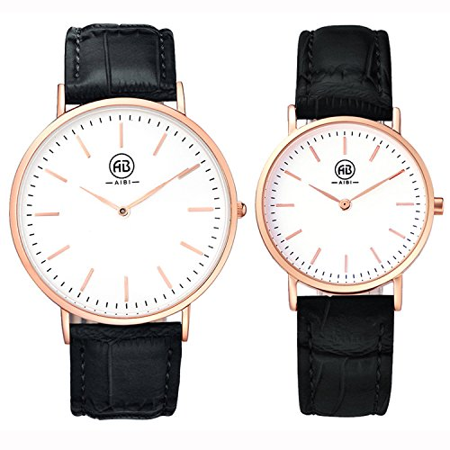 AIBI-Set-of-2His-and-Her-Watch-Quartz-Black-Leather-Waterproof-Watches-For-Couple-Lovers