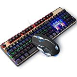 Mechanical Keyboard and Mouse combo,SADES K10 LED Backlit Wired Gaming Keyboard and Mouse Combo, Mechanical Feel with Mutilmedia Keys and Blue Switches for Windows Mac