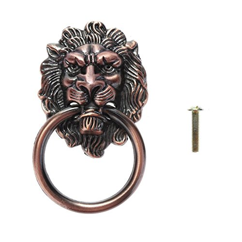 Brass Small Lion Head Knob - VKTECH Vintage Lion Head Drawer Handle Pull with Dresser Ring Zinc Alloy Cupboard Door Cabinet Handle Knobs (Small Red Bronze, with 1 Screws)