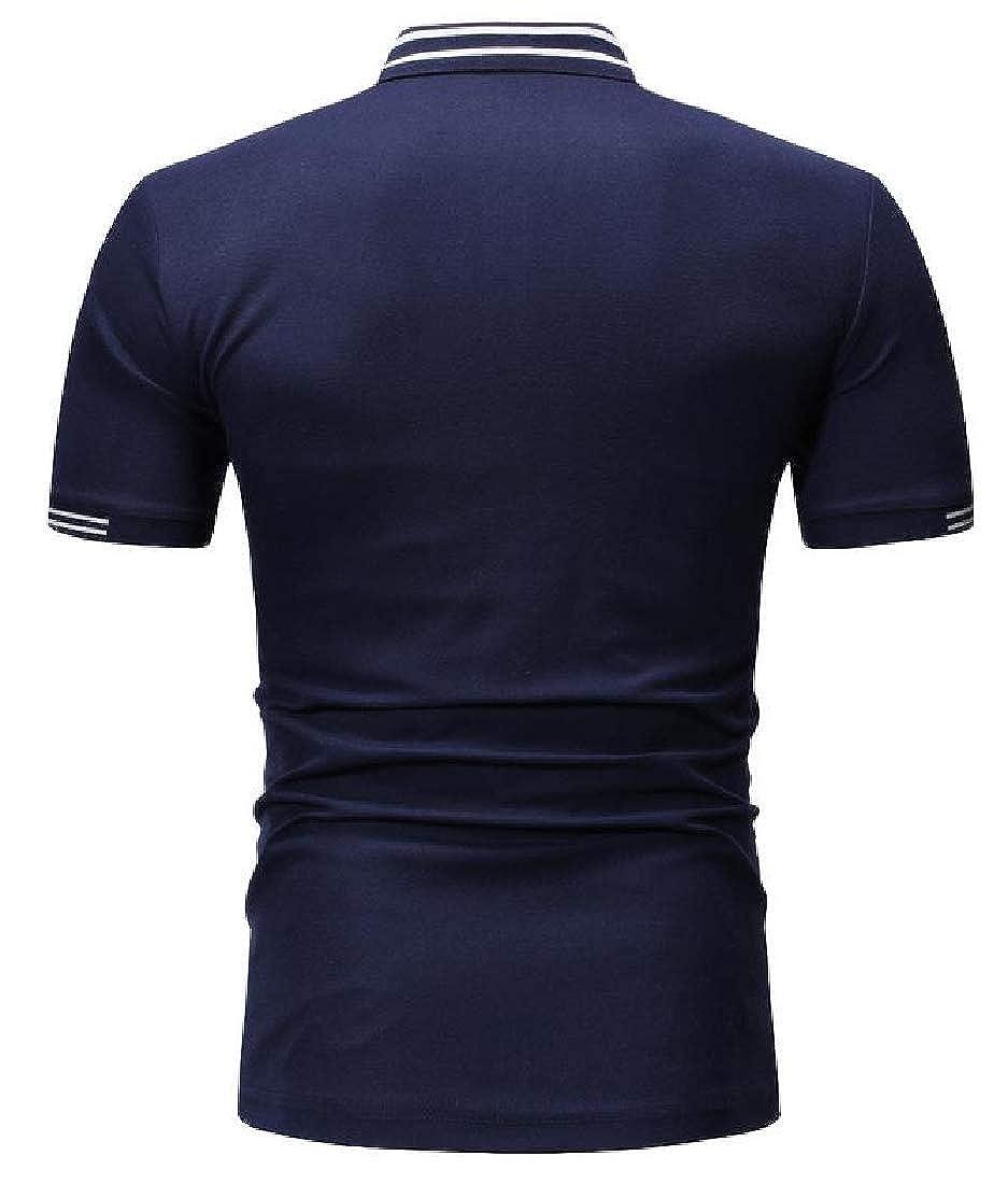 Hajotrawa Mens Summer Short Sleeve Button Striped Lapel T-Shirt Casual Polo