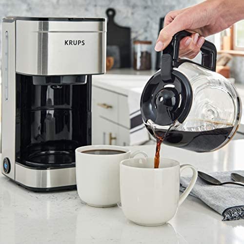 KRUPS Simply Brew Family 10 Cup Drip Filter Coffee Maker with Stainless Steel Finish, silver, 10 cups/ 50 fluid oz.