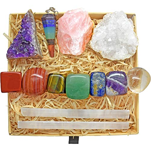 Crystals and Healing Stones Kit with 13 pcs. Healing Crystals, Gemstones and Crystals for Beginners Including Chakra Stones, Chakra Crystals and Crystal Set