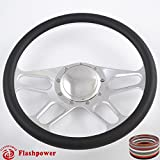 Flashpower 14'' Billet 4-slot Half Wrap 9 Bolts Steering Wheel with 2'' Dish and Horn Button (Black)