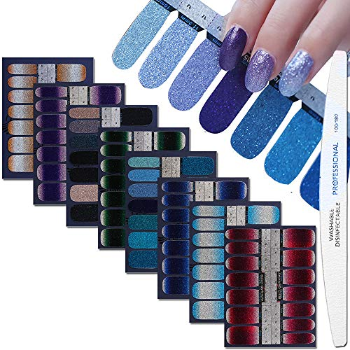 WOKOTO 8 Sheets Nail Art Polish Stickers Strips With 1Pcs Nail File Full Wraps Nail Adhesive Decals Gradient Glittery Manicure Kit For Women ()