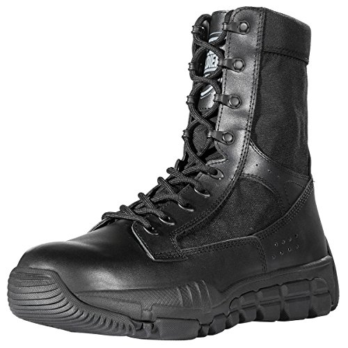 FREE SOLDIER Mens Military Boots 8 Inch Deeply Serrated Toe and Heel Bumper Desert Tan Tactical Boots(Black - Hills Desert Outlets