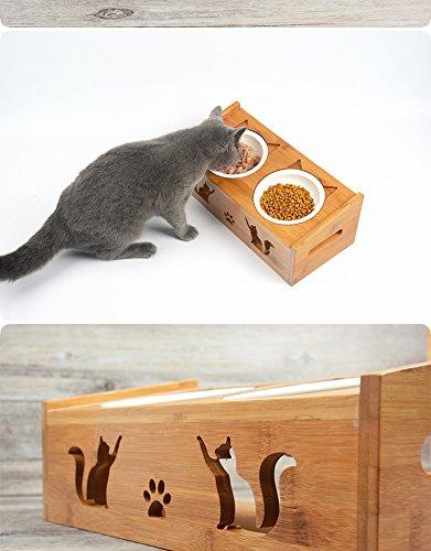 Pet Petons Comedero 2 Cuencos para Perros y Gatos, Madera y cerámica: Amazon.es: Hogar