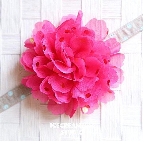 Jumbo Gold Foil Dot Bloom Collar Slide On, Flower Collar Accessories, Corsage Accessories, Collar Add On, Collar Flower - Hot Pink