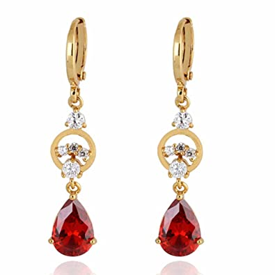 YAZILIND Charming Smooth Gold Plated Inlay Oval Sea Blue Cubic Zirconia Dangle Drop Earrings for Women CvUhlEA