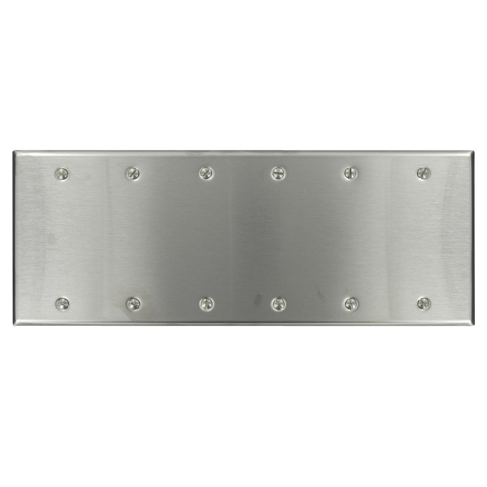 Leviton 84066-40 6-Gang No Device Blank Wallplate, Standard Size, Box Mount, Stainless Steel