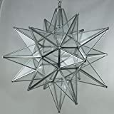 Moravian Star Pendant Light, Clear Glass, Silver Frame, 18''