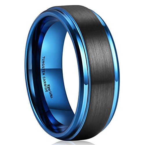 King Will DUO 8mm Black Brushed Blue Tungsten Carbide Wedding Band Ring Polish Finished Comfort Fit 10