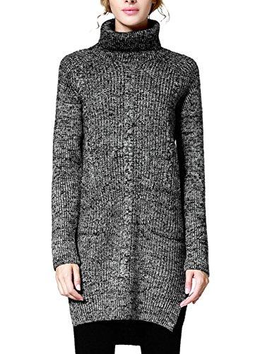 Rocorose Women's Side Slit High-low Hem Turtleneck Long Sweater Gray M