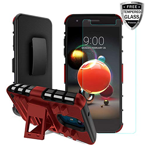 LG Aristo 2 Case/LG Rebel 4/Aristo 2 Plus/Phoenix 4/Aristo 3/Tribute Empire/Zone 4/K8(2018)/K8+/Fortune 2/Risio 3/Tribute Dynasty W Tempered Glass Screen Protector Built-in Kickstand Belt Clip, PC-Red