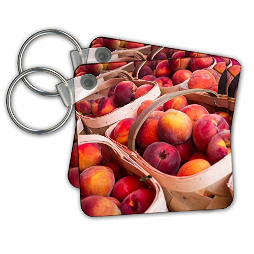 Danita Delimont - Fruit - Peaches for sale at a farmers market, Charleston, South Carolina. USA - Key Chains - set of 2 Key Chains (kc_251395_1)