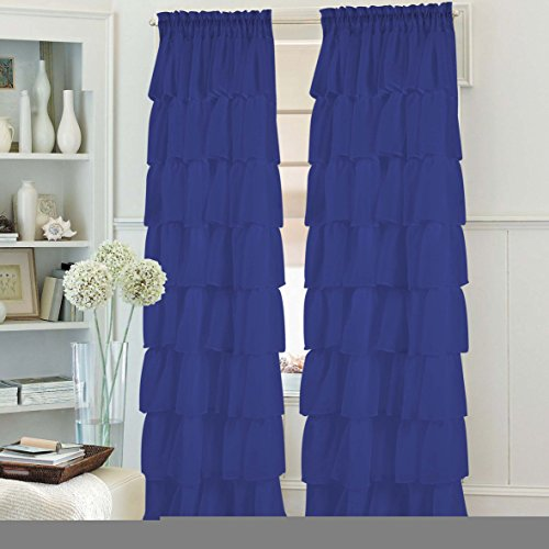 1PC Gypsy Window Treatment Curtain Crushed Sheer Panel Drape Ruffle Style Semi-sheer Fully Stitched with Rod Pocket for Avilabale in Multiple Colors and Size (55