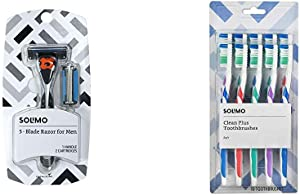 Solimo 5-Blade MotionSphere Razor for Men with Dual Lubrication and Precision Beard Trimmer, Handle & 2 Cartridges & Amazon Brand - Solimo Clean Plus Toothbrushes, 10 Count