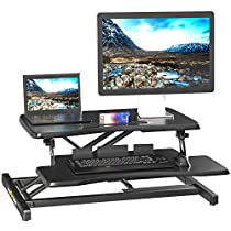 WISE TIGER 32 inch Height Adjustable Standing Desk Workstation Tabletop Sit Stand Gas Spring Riser Converter Fits Dual Monitor, 10-Minute Assemble