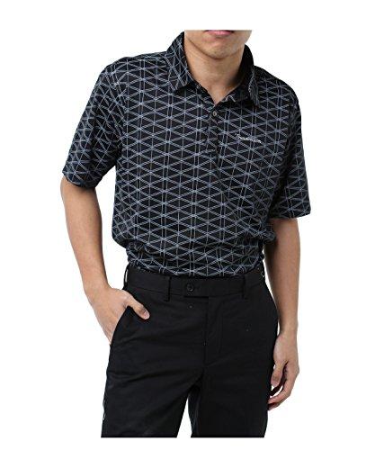 ツアーディビジョン ゴルフウェア ポロシャツ 半袖 ジオメトリックプリント半袖シャツ TD220101H03 BK XO