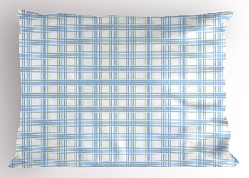 Lunarable Plaid Pillow Sham, Geometrical Striped Old Fashioned Pattern in Pastel Colors Country Style, Decorative Standard King Size Printed Pillowcase, 36 X 20 inches, Baby Blue Yellow White by Lunarable (Image #2)