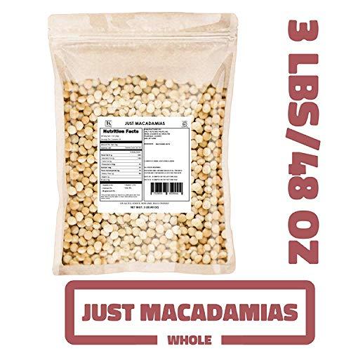 Just Macadamias 3 LB BULK, RAW, HEALTHY, MACADAMIA NUTS (Wholes, 48 OZ) (KOSHER CERTIFIED)
