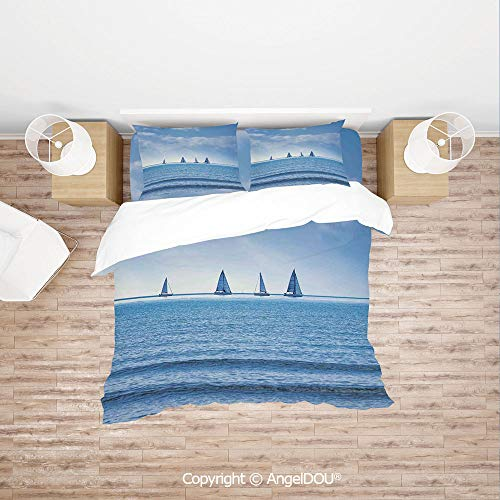 (PUTIEN Durable Cotton Bedding Set (1 Duvet Covers+2 Pillowcases 1 Sheet),Racing Yachts on Ocean Water Regatta Race Panoramic Distant View Relax Win Photo,Quilt Cover for Women Men Bedroom.)