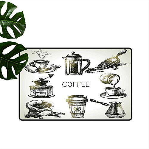 PEONIY&HOME Coffee,Custom Floor Mat Brewing Equipment Doodle Sketch Grinder French Press Plastic Cup Scoop Vintage Low-Profile Mats for Entry W 24