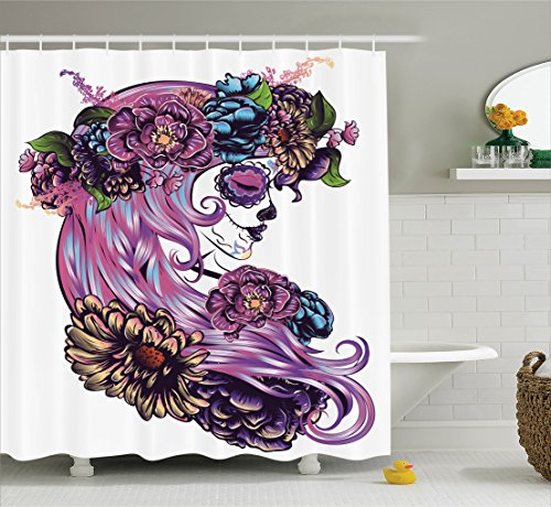 Ambesonne Gothic Decor Collection, Day of the Dead Illustration with Sugar Skull Girl in Decorative Flower Wreath Print, Polyester Fabric Bathroom Shower Curtain Set, 75 Inches Long, Blue Purple Pink