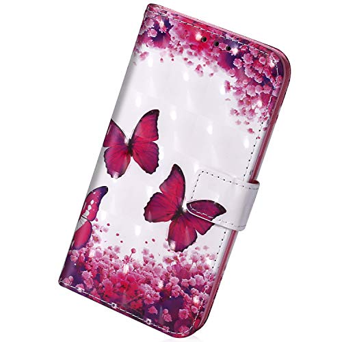 Herbests Compatible with Huawei P20 Pro Wallet Case 3D Colorful Glitter Bling Sparkle Flip Cover Book PU Leather Stand Case Protective Cover Strap Card Slot,Cherry Blossom Butterfly