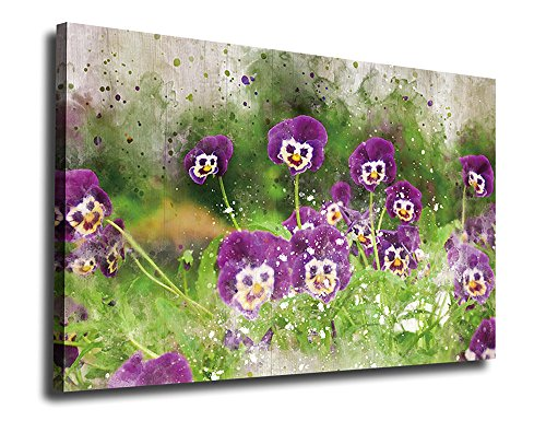 Pansy Flower Pictures (Canvas Wall Art Purple Flowers Painting Artwork Picture Print on Canvas 24