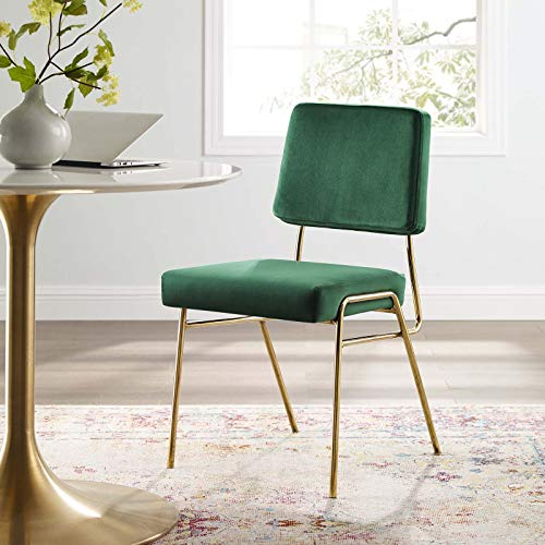 Modway Craft Performance Velvet Dining Side Chair, Gold Green