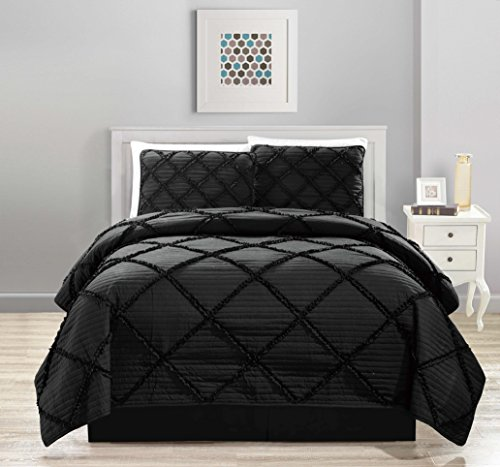 All American Collection New 4pc Diamond Pleated Ruffle Bedspread/Quilt Set with Bedskirt (King Size, Black) -